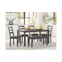 ASHLEY BRIDSON GRAY 6PC DINETTE D383-325 Image